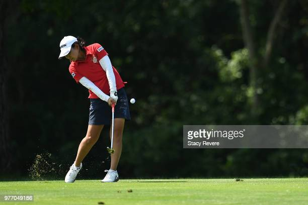 Sakura Yokomine of Japan hits her third shot on the first hole during the final round of the Meijer LPGA Classic for Simply Give at Blythefield...