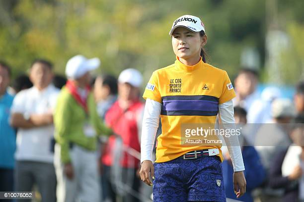 Sakura Yokomine of Japan looks on during the second round of the Miyagi TV Cup Dunlop Ladies Open 2016 at the Rifu Golf Club on September 24 2016 in...