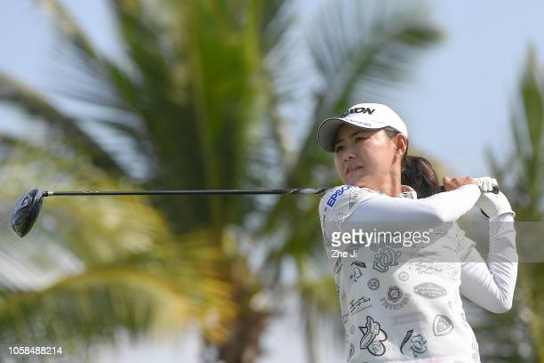 Sakura Yokomine of Japan plays a shot during the first round of the Blue Bay LPGA on November 7 2018 in Hainan Island China