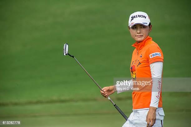 Sakura Yokomine of Japan plays a shot in the Fubon Taiwan LPGA Championship on October 8 2016 in Taipei Taiwan
