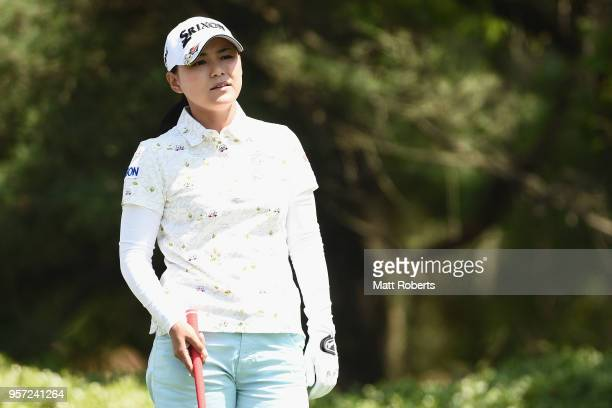 Sakura Yokomine of Japan prepares for her tee shot on the 12th hole during the first round of the Hoken No Madoguchi Ladies at the Fukuoka Country...