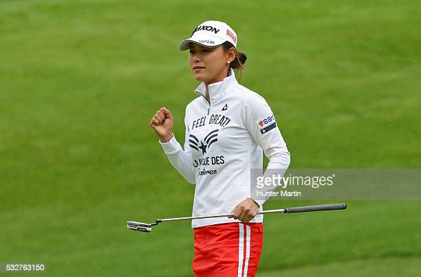 Sakura Yokomine of Japan reacts after her birdie putt on the eighth hole during the first round of the Kingsmill Championship presented by JTBC on...