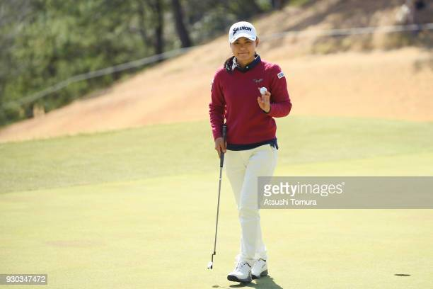 Sakura Yokomine of Japan reacts after making her birdie putt on the 3rd hole during the final round of the Tokohama Tire PRGR Ladies Cup at Tosa...