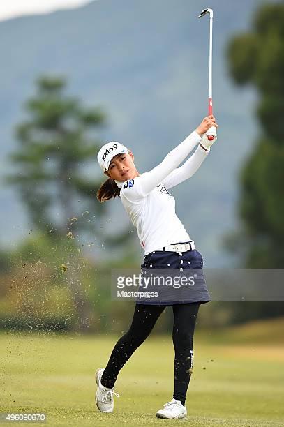 Sakura Yokomine of Japan shots during the second round of the TOTO Japan Classics 2015 at the Kintetsu Kashikojima Country Club on November 7 2015 in...