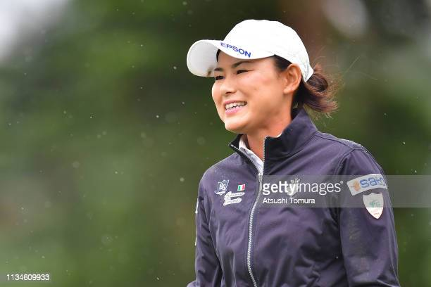 Sakura Yokomine of Japan smiles after making her birdie putt on the 18th hole during the third round of the Daikin Orchid Ladies Golf Tournament at...