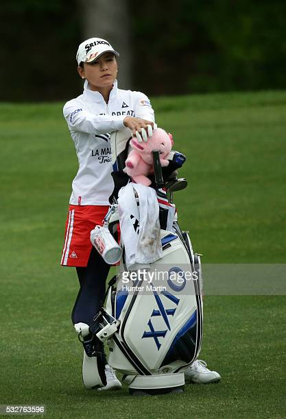 Sakura Yokomine of Japan stands in the fairway on the eighth hole during the first round of the Kingsmill Championship presented by JTBC on the River...