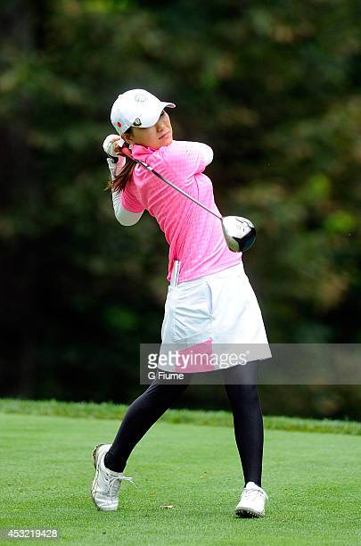 Sakura Yokomine of Japan tees off on the seventh hole during round one of the International Crown on July 24 2014 in Owings Mills Maryland