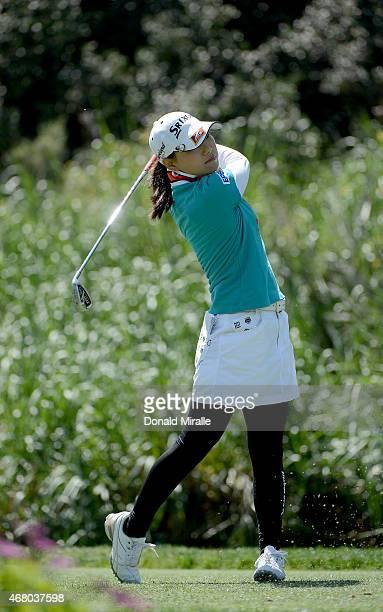 Sakura Yokomine of Japan tees off the 3rd hole during Final Round of the LPGA KIA Classic at the Aviara Golf Club on March 29 2015 in Carlsbad...