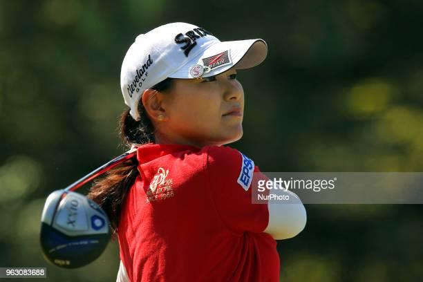 Sakura Yokomine of Tokyo Japan follows her shot from the 1st tee during the final round of the LPGA Volvik Championship at Travis Pointe Country Club...