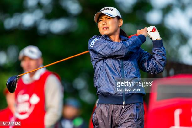 Sakura Yokomine tees off on the 1st hole during the second round of the Canadian Pacific Women's Open on August 25 2017 at The Ottawa Hunt and Golf...