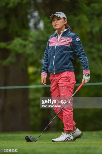 Sakura Yokomine watches her tee shot on 3 during the Cambia Portland Classic Round 1 at Columbia Edgewater Country Club on August 30 2018 in Portland...