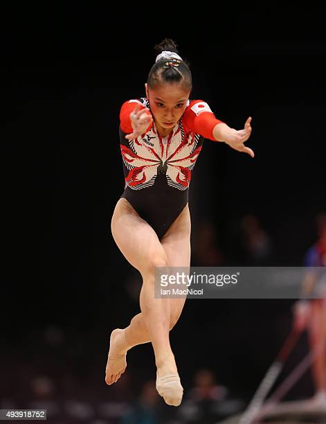 Sakura Yumato of Japan competes on the Floor during Day One of the 2015 World Artistic Gymnastics Championships at The SSE Hydro on October 23 2015...