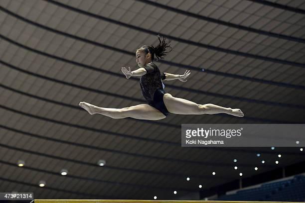 Sakura Yumoto competes on the Balance Beam during the Artistic Gymnastics NHK Trophy at Yoyogi National Gymnasium on May 17 2015 in Tokyo Japan