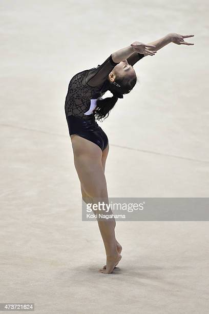 Sakura Yumoto competes on the Floor during the Artistic Gymnastics NHK Trophy at Yoyogi National Gymnasium on May 17 2015 in Tokyo Japan
