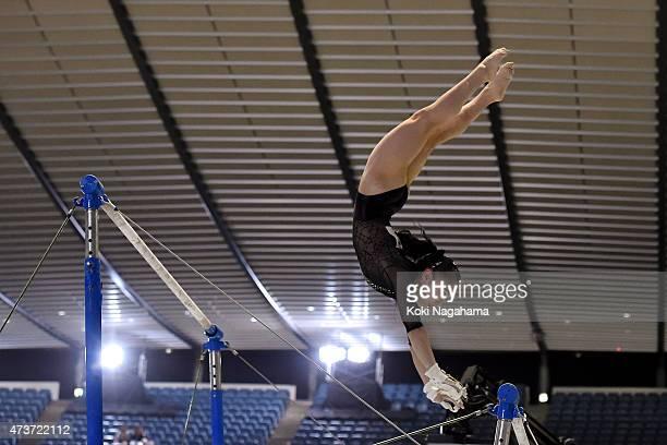 Sakura Yumoto competes on the Uneven Bars during the Artistic Gymnastics NHK Trophy at Yoyogi National Gymnasium on May 17 2015 in Tokyo Japan
