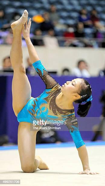Sakura Yumoto of Chukyo University competes in the Floor during day two of the All Japan Artistic Gymnastics Team Championships at Yoyogi National...