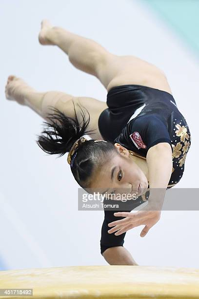 Sakura Yumoto of Japan competes on the Vault during the 68th All Japan Gymnastics Apparatus Championships on July 5 2014 in Chiba Japan