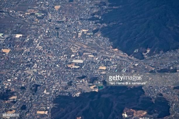 Sakurai city in Nara prefecture in Japan daytime aerial view from airplane