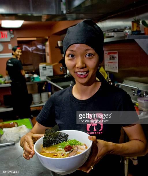 Sakuramen Ramen Bar Chef Hee Jong prepares a bowl of Spicy Miso Ramen on Tuesday July 5th 2012