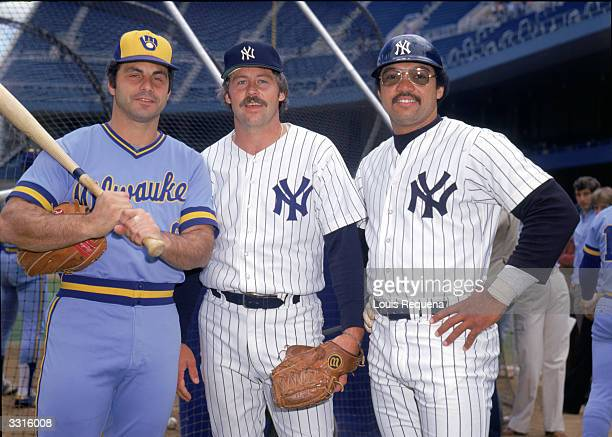 Sal Bando of the Milwaukee Brewers and Jim Catfish Hunter and Reggie Jackson of the New York Yankees pose for a portrait circa 19781979 in Yankee...