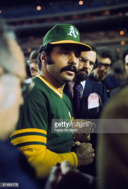 Sal Bando of the Oakland Athletics talks to the fans during the World Series against the New York Mets at Shea Stadium in Flushing New York in...