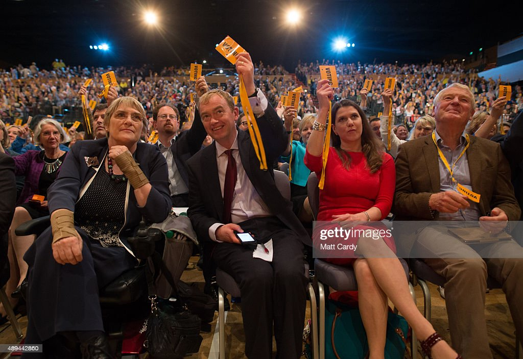 Sal Brinton, President of the Liberal Democrats, leader of the Liberal Democrats Tim Farron, former minister Jo Swinson and Paddy Ashdown vote for a motion on the third day of the Liberal Democrats annual conference on September 20, 2015 in Bournemouth, England. The Liberal Democrats are currently holding their annual conference using the hashtag #LibDemfightback in Bournemouth. The conference is the first since the party lost all but eight of its MPs in May's UK general election, however after gaining 20,000 new members since May the party is expecting a record attendance at the event being held at the Bournemouth International Centre.