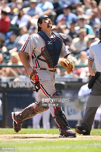 Sal Fasano of the Cleveland Indians gets under a pop up against the Seattle Mariners on July 19, 2008 at Safeco Field in Seattle, Washington.