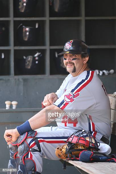 Sal Fasano of the Cleveland Indians looks on against the Seattle Mariners on July 19, 2008 at Safeco Field in Seattle, Washington.