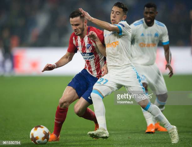 Saúl Ñíguez of Atletico Madrid and Maxime Lopez of Marseille during the UEFA Europa League Final between Olympique de Marseille and Club Atletico de...
