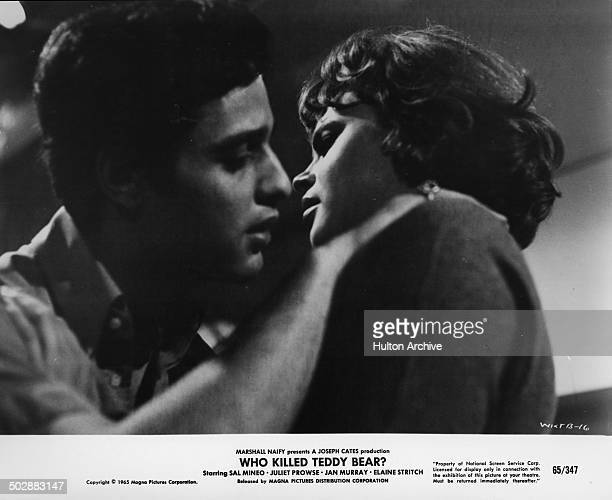 Sal Mineo kisses Juliet Prowse in a scene in the movie Who Killed Teddy Bear circa 1965