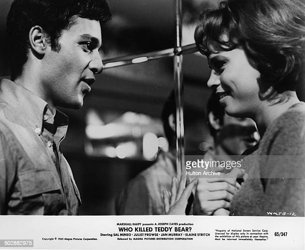 Sal Mineo talks with Juliet Prowse in a scene in the movie Who Killed Teddy Bear circa 1965