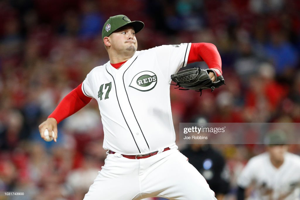 Sal Romano #47 of the Cincinnati Reds pitches in the seventh inning of the game against the Los Angeles Dodgers at Great American Ball Park on September 11, 2018 in Cincinnati, Ohio. The Reds won 3-1.