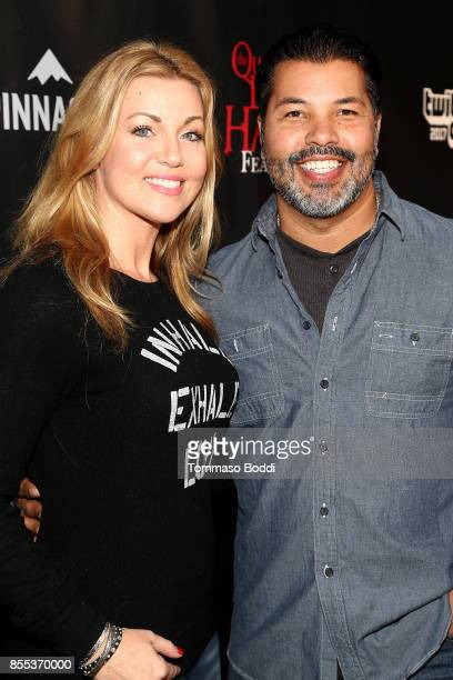 Sal Velez Jr and guest attend the Queen Mary's Dark Harbor Media VIP Preview Event on September 28 2017 in Long Beach California