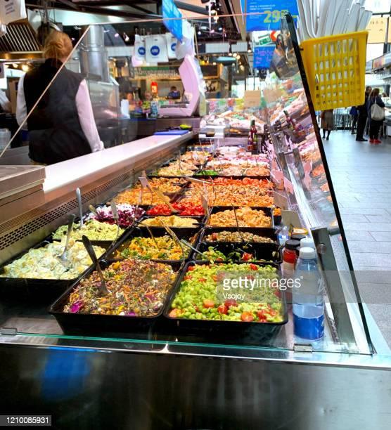 salad at torvehallerne, copenhagen, denmark - vsojoy stock pictures, royalty-free photos & images