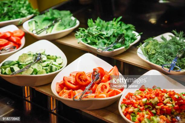 salad bar at the hotel - buffet stock pictures, royalty-free photos & images