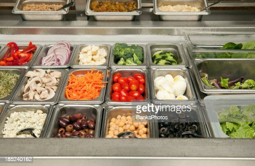 Salad Bar Vegetables And Toppings Stock Photo - Getty Images