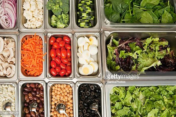 Bar à salade de légumes de dessus