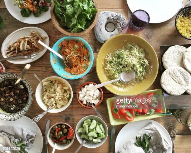 Salad buffet on a table