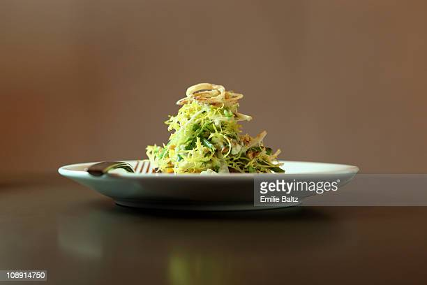 a salad garnished with fried onions - van de zijkant stockfoto's en -beelden