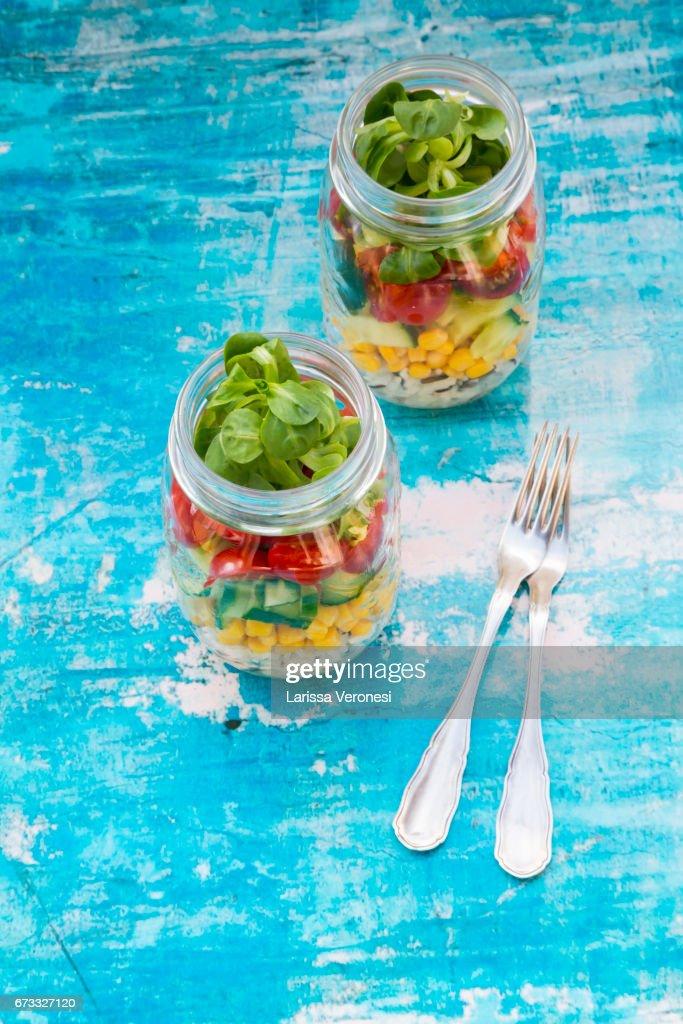 Salad in a jar : Stock-Foto