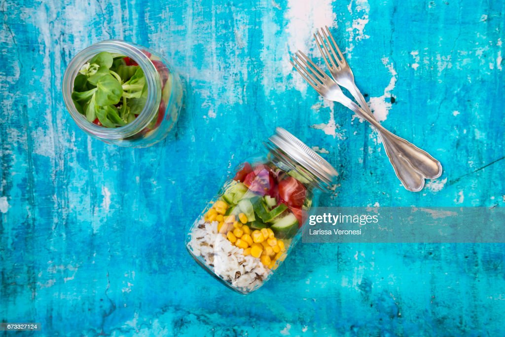 Salad in a jar : Stock-Foto