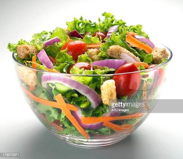 salad in glass bowl - salad ストックフォトと画像