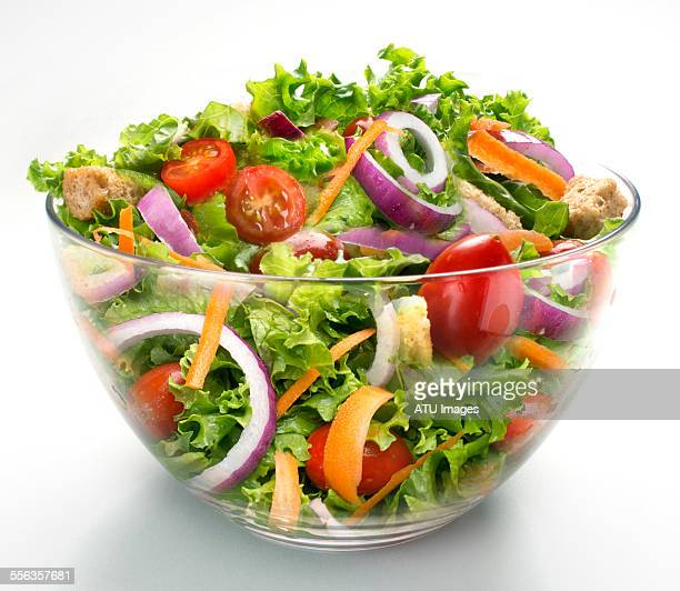 salad in large glass bowl - salad stock pictures, royalty-free photos & images