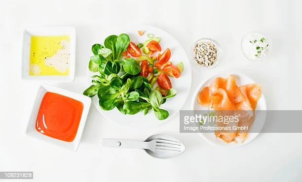 Salad ingredients on white background
