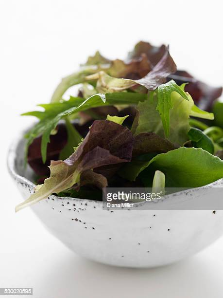 Salad leaves in bowl, close-up