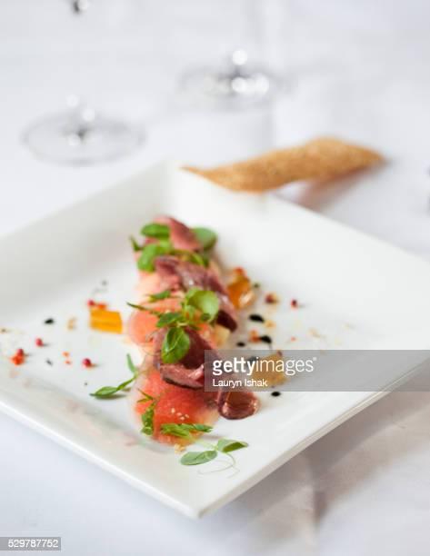 salad of bagan melon and watermelon, le planteur restaurant, yangon, myanmar - lauryn ishak stock pictures, royalty-free photos & images