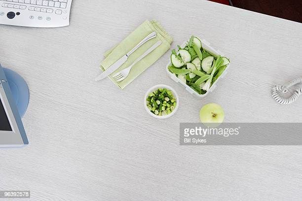 salad on desk