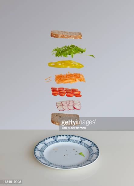salad sandwich deconstructed - yellow bell pepper stock pictures, royalty-free photos & images