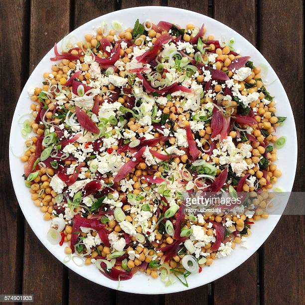 Salad with chickpeas, feta cheese and pickled onions