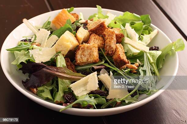 salad with croutons and parmesan cheese - crouton stock photos and pictures